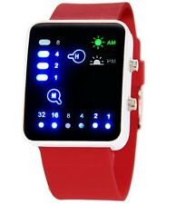 Red Led Binary Digital Watch Mens Fashion Casual Sport Wrist Watches UK SELLER