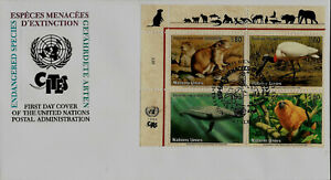 Blue Whale Stork Monkey Endangered Species United Nations First Day Cover FDC