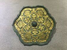 Free shipping Rare Chinese bronzeInlaid gold shell flower design mirror