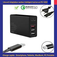 Chargeur d'Alimentation USB-C Type PD 5V/12V/20V-5A 100W-Max (Auto Réglable)