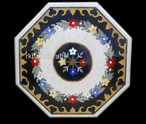 30 Inches Marble Coffee Table Inlay with Multi Color Gemstones Patio Sofa Table