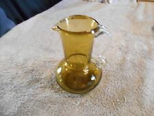 Olive Green Glass Pitcher With Clear Applied Handle - 4 1/4'' Tall