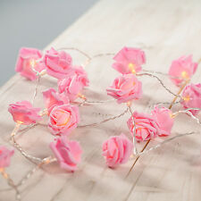 20 x Pink Rose Flower LED String Fairy Lights Indoor Christmas Xmas Bedroom