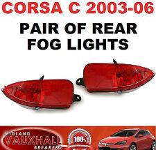 VAUXHALL CORSA C 2003-06 PAIR BACK REAR FOG LIGHTS DRIVERS + PASSENGER SIDE SXI