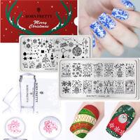 BORN PRETTY 3pcs/set Nail Stamping Plates Stamper Scraper Christmas Nail Art Kit