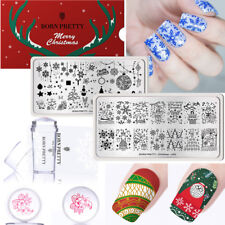BORN PRETTY 3pcs/set Nail Stamping Plates Stamper Scraper Christmas Nail Art Kit