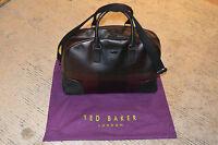 Ted Baker Burgundy Leather Zip Holdall Large Shoulder Duffle Gym Bag Mens