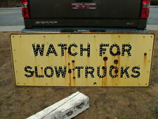 Large 1940's Watch For Slow Trucks Reflector Porcelain Sign