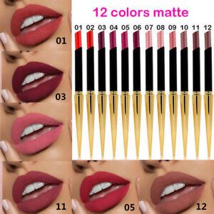 12 Colors Nude Makeup Lasting Matte Lipstick Bullet Design Lip Gloss Cream Hot