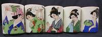 Sushi Yunomi Japanese Geisha Tea Cups 5PC Set Hand Made Japan Vintage Ceramic