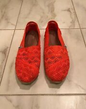 Toms Orange Moroccan Crochet Women's Classics Shoes Size 9.5