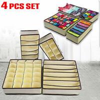 Foldable Storage Box Bra Underwear Closet Organizer Drawer Divider Kit Set of 4
