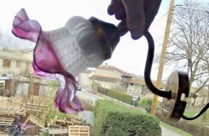 1 Ancienne Applique suspension lustre chandelier Fleur Tulipe Rose dépolie