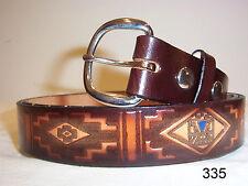 New Top Grain Cowhide Leather Belt (#335) Navajo Theme Custom Sizing 26 thru 48
