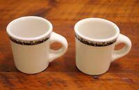 Pair Vtg Wall Street Stock Market Ticker Buffalo China Ceramic Diner Coffee Mugs