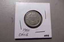 1940 Republica De Chile 20 Centavos Twenty Cents World Coin Circulated 488