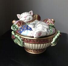 Fitz And Floyd Essentials Kristmas Kitty Candy Dish Bowl with Lid Christmas Cat