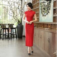 2017 new red chinese  women's Evening lace long Dress Ball Cheongsam S-3XL