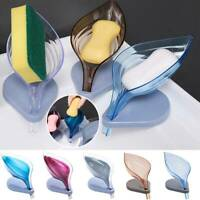 Self Draining Leaf Shape Soap Dish Case Holder Bathroom Soap Box Home Organizer.