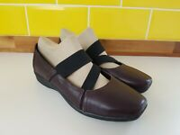 Clarks Collection Cushion Soft Ladies Mary Jane Purple Leather Flat Shoes UK 7 D