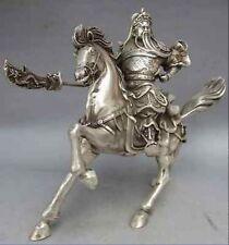 Chinese Tibet Silver Warrior God Guan Yu Statue nice