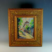 Original French Impressionist Oil Painting of a Street Scene Signed