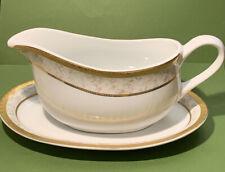 Royal Heritage Prestige Primavera Porcelain White W/GOLD Trim Gravy Boat. NICE