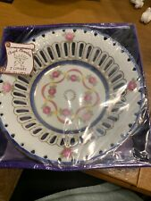HAND PAINTED PLATE - T & V LIMOGES - FLORAL  -WHITE/DARK PINK