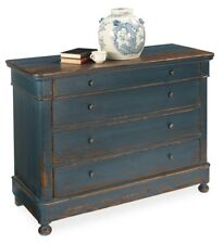 "49"" w Wyatt Chest of drawer blue cabinet old pine antiqued french dark iron"