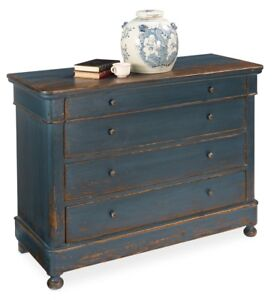 "49"" w Wyatt Chest of drawer blue cabinet old pine antiqued french dark iron"