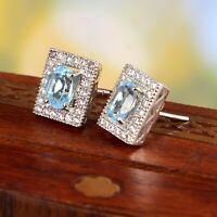 Natural Blue Topaz Stud Earrings Halo Statement Art Deco 925 Sterling Silver