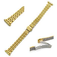Ladies Stainless Steel Deployment Catch Watch Bracelet 12-16mm gold 21.802