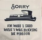 2x Pontoon Cushion Cover With Zipper Canvas Material Boating Humor 17in X 17in