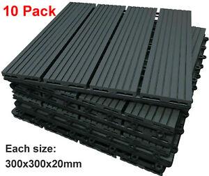 10 Pack Plastic WPC Garden Interlocking Decking Tiles Recycled Material Flooring