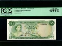 Bahamas:P-20a,5 Dollars,1965 * Queen Elizabeth II * PCGS Gem UNC 65 PPQ *