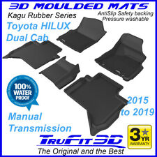 Fits Toyota Hilux Dual Cab 2015 - 2020 MANUAL TRANS 3D Black Rubber Floor Mats