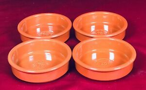 """TERRACOTTA  x 4 SPANISH STYLE TAPAS DISHES STAMPED """"TASTE TASTED BY CUSTOMERS"""""""