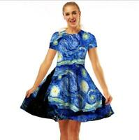 Woman Short Sleeve dress Van gogh Sky Printed O Neck T-Shirt Dress S-XL
