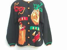 Alexandra Bartlett Halloween Cardigan Sweater Women's Large Pumpkin Trick Treat