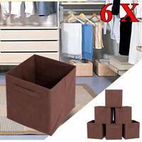 6X Collapsible Cube Storage Box Square Canvas Organizer Toys Clothes Bin Coffee