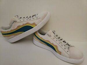 PUMA Coast Pack Men's 9 Women's 11 Cream Suede Pull on Lace Up Low Top Sneakers