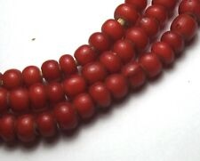 """23"""" STRAND OF BEAUTIFUL SMALL RED 4mm x 6mm WHITE HEART GLASS BEADS"""