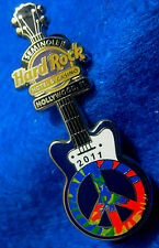 HOLLYWOOD FL CASINO & HOTEL TIE DYE PEACE SIGN GUITAR 2011 Hard Rock Cafe PIN LE