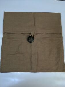 "Pottery Barn Textured Linen Button Hopsack Pillow Cover 18"" Brown Tan"