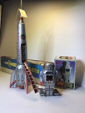 🔥 Vintage Wind-Up Spark Robot Jmt 36 & Rocket Holdraketa Read First