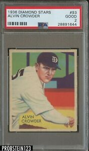 1936 Diamond Stars #93 Alvin Crowder Detroit Tigers PSA 2 GOOD