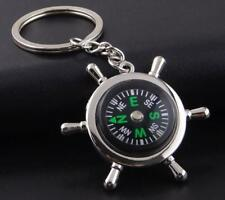 New His/Hers Silver Metal Hiking Camping Compass Keyring Quality Novelty Gift UK
