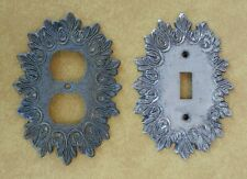 Vtg MCM Ornate Metal Edmar Switchplate + Outlet Cover Silver + Bronze Tone