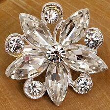 White Crystals Flower Wedding Brooch Pin