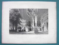 CONSTANTINOPLE Entrance to Seraglio SUltan Palace - 1840 Antique Print by Allom